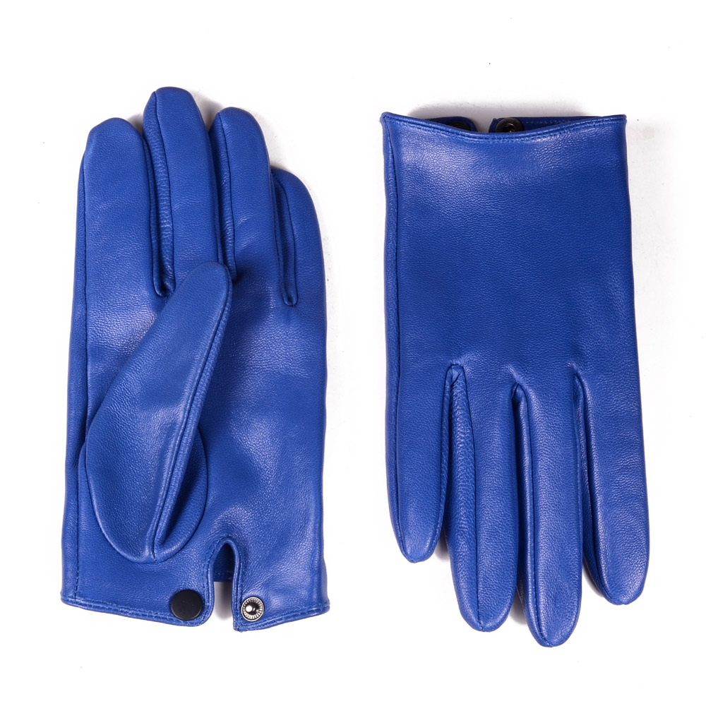 Men's 100% Real Leather Sheep Skin Shrink Wrist Blue Unlined Police Tactical Short GLOVES Wrist Button Gloves Gloves