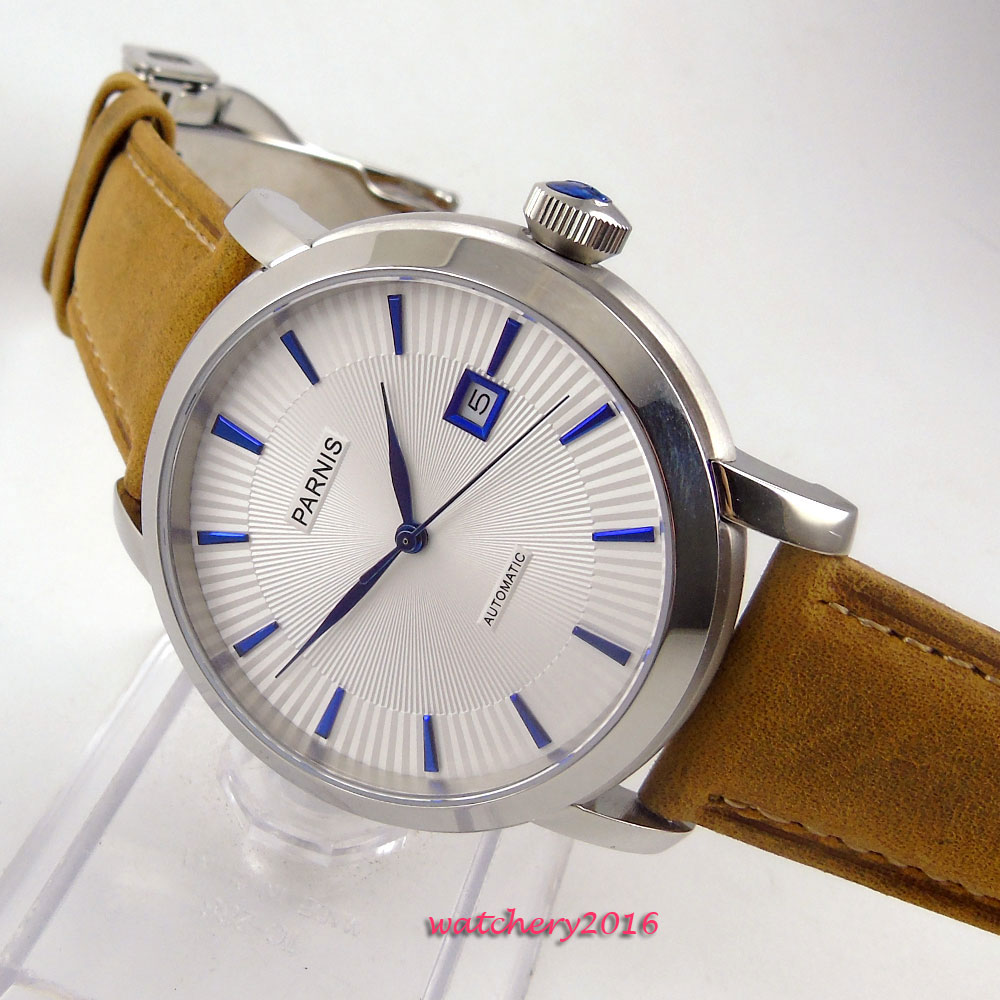 41mm Parnis White dial stainless steel case date window Blue Hands Newest Hot Automatic movement Mens business Watch41mm Parnis White dial stainless steel case date window Blue Hands Newest Hot Automatic movement Mens business Watch