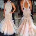 2017 Pearl Pink Mermaid Prom Dresses For Teens Sleeveless High Neck Beaded Trumpet Pageant Party Gowns Robe de Bal Couleur