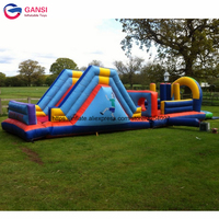 Kids obstacle equipment inflatable course challenge, sport games inflatable obstacle course with slide