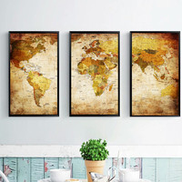 3 Pieces Canvas Paintings For Living Room Unframed Modern Art Oil Painting Wall Picture World Map