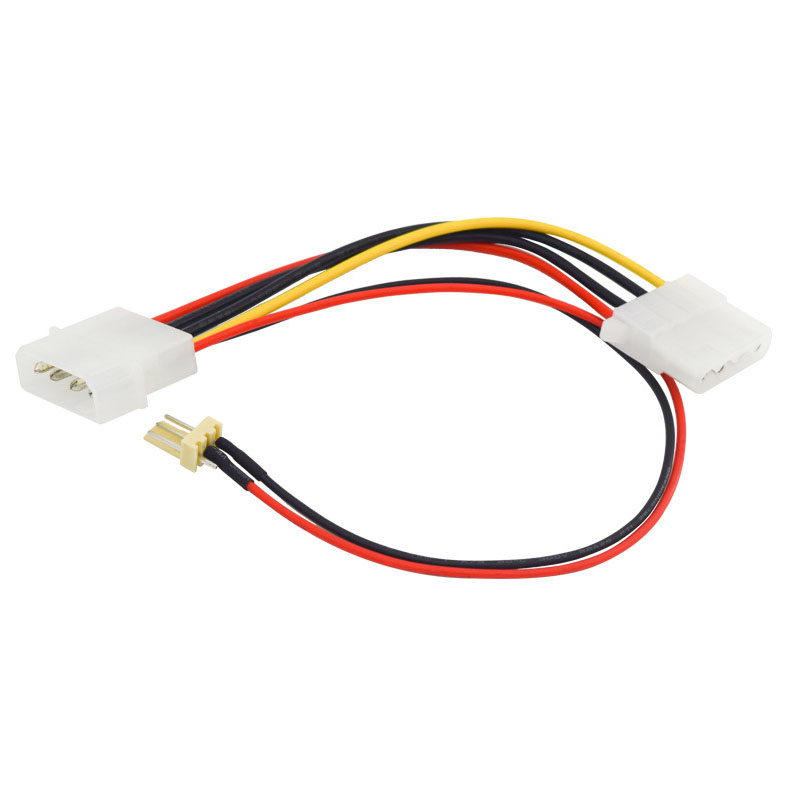 4 Inches IDE Molex 4 Pin Internal Extension Power Cord W/ 8 Inch 3-pin 2 Pin Case Cooling Fan Splitter Adapter Converter Y-Cable