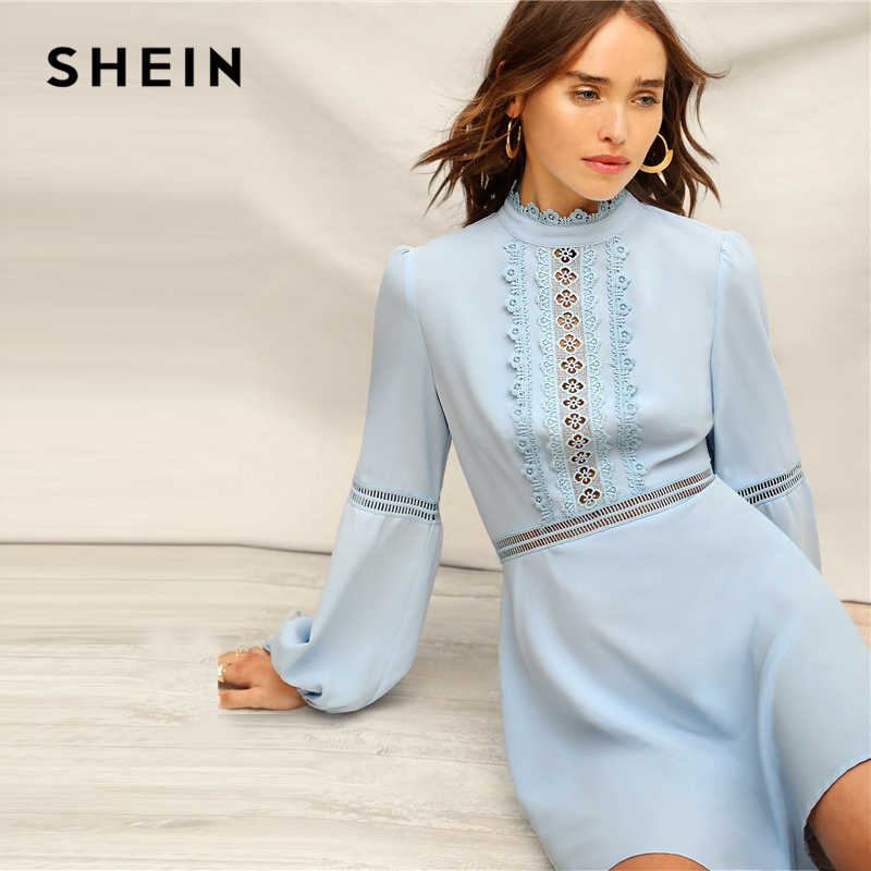 SHEIN Blue Mock Neck Guipure Lace Detail Lantern Sleeve High Waist Elegant Dress Women Spring Romantic A Line Flared Dresses