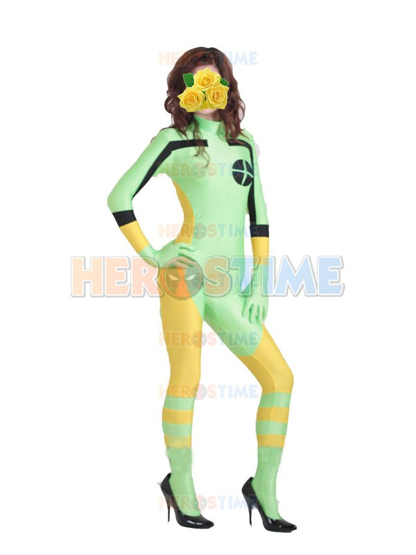 Free Shipping Hot Adult X-Men Rogue Cosplay Costume Yellow And Green Lycra Spandex Catsuit Superhero Halloween Costume