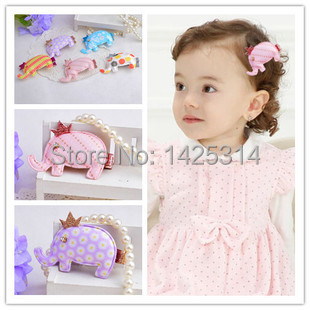 12pc Cute Little Elephant Pattern Baby Girls Hairpin Children