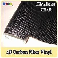 4D углеродное волокно виниловой пленкой 1,52x30 м с воздуха Слейте черный