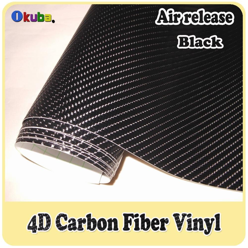 4D en fibre de carbone vinyle film 1.52x30m Avec Évacuation D'air Noir