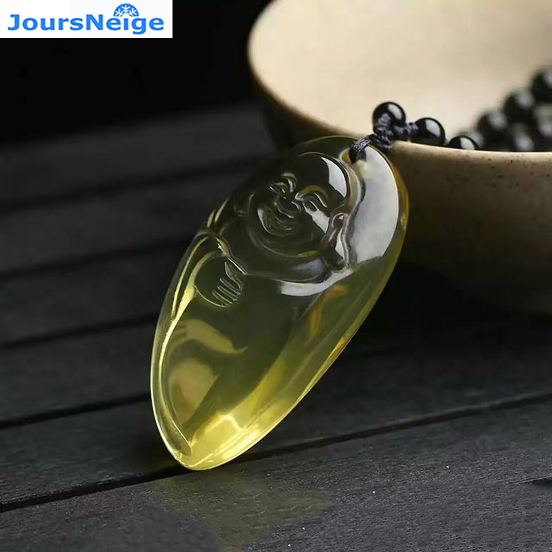 Wholesale JoursNeige Yellow Natural Crystal Pendants Fine Carved Laughing Buddha Amulet Pendant Necklace Women Men Jewelry grade a pale green original stone carving round laughing buddha pendant necklace charm men and women