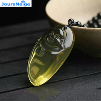 Wholesale JoursNeige Yellow Natural Crystal Pendants Fine Carved Laughing Buddha Amulet Pendant Necklace Women Men Jewelry