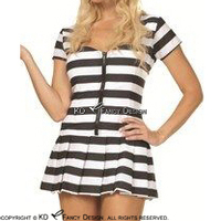 White With Black Sexy Latex Dress With Stripes Zipper Front Prisoner Rubber Uniform Bodycon Playsuit LYQ 0086