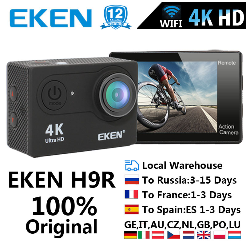 EKEN Helmet Cam-Camera Sport Cam Wifi-2.0 Waterproof H9R Ultra-Hd 170D 4k/25fps title=