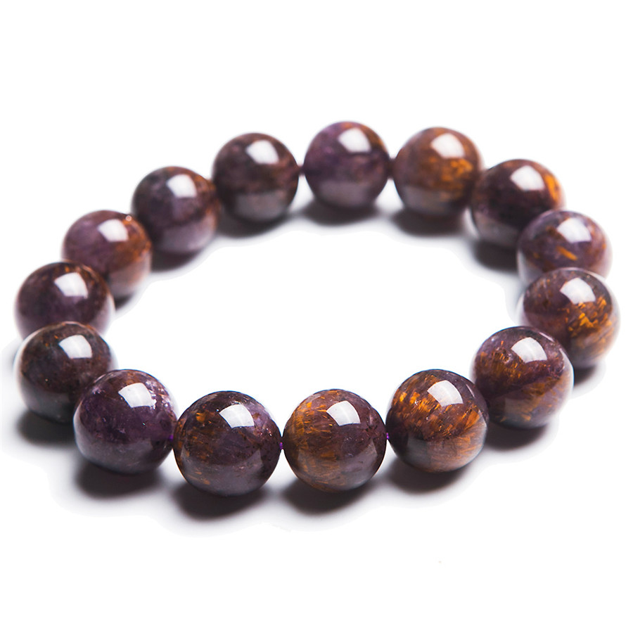 15mm Natural Purple Cacoxenite Gold Hair Rutilated Quartz Crystal Clear Round Beads Bracelet Men Women Stretch Charm Bracelet