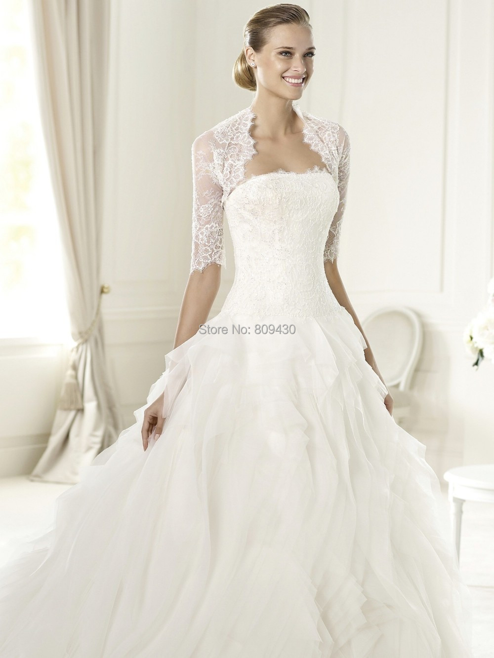 Online Shop Ulua Ball Gown Off White Strapless Built In Bra Wedding Dress With Bolero Luxurious Vestidos De Noiva
