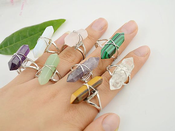 Wholesale 10pcs/lot Natural Stone Quartz Reiki Point Ring Cooper Wire Warped Finger ring