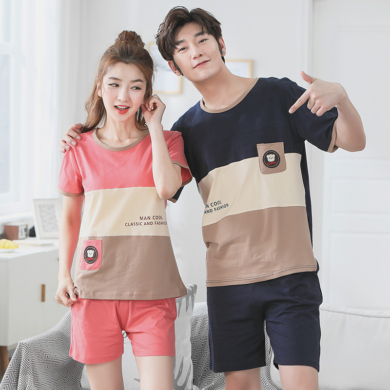 Lounge Gift 100% Cotton Couple Cute Cartoon Pajama Sets for Women 2018 Summer Shorts Pyjama Men Sleepwear Homewear Home Clothing