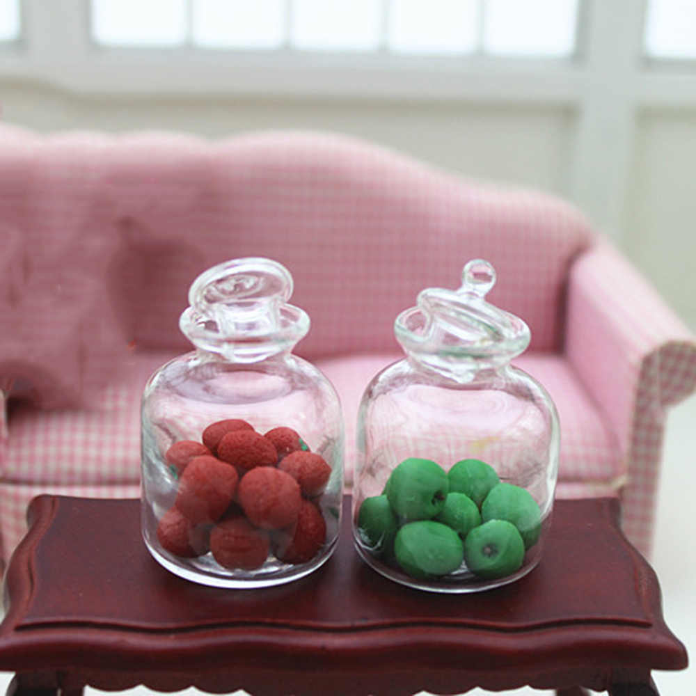 1Pcs 1/12 Dollhouse Miniature Accessories Mini Glass Jar Simulation Fruit Pot Toys Doll House Decoration