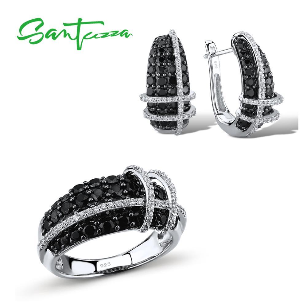 Santuzza Ювелирные наборы для Для женщин природного камня черного шпинелей белый кольцо из кубического циркония серьги 925 пробы серебро Модные ...