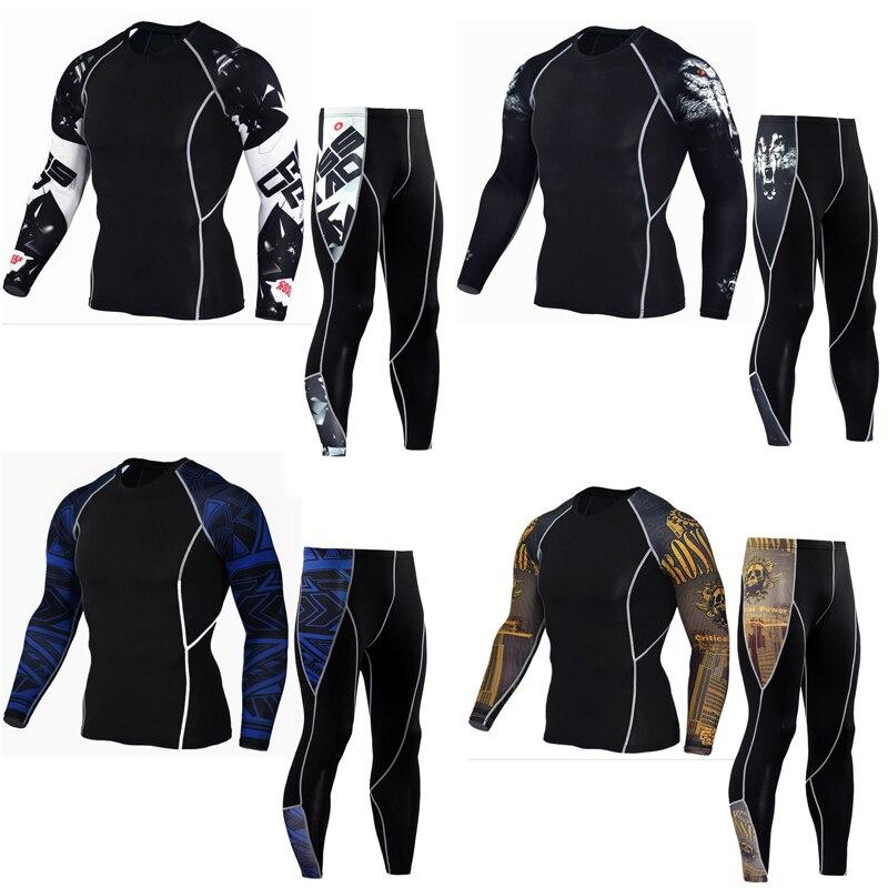 Rashguard mma manches longues crossfit t-shirt Fitness compression chemise sous-vêtements thermiques pour hommes MMA vêtements survêtement pour hommes