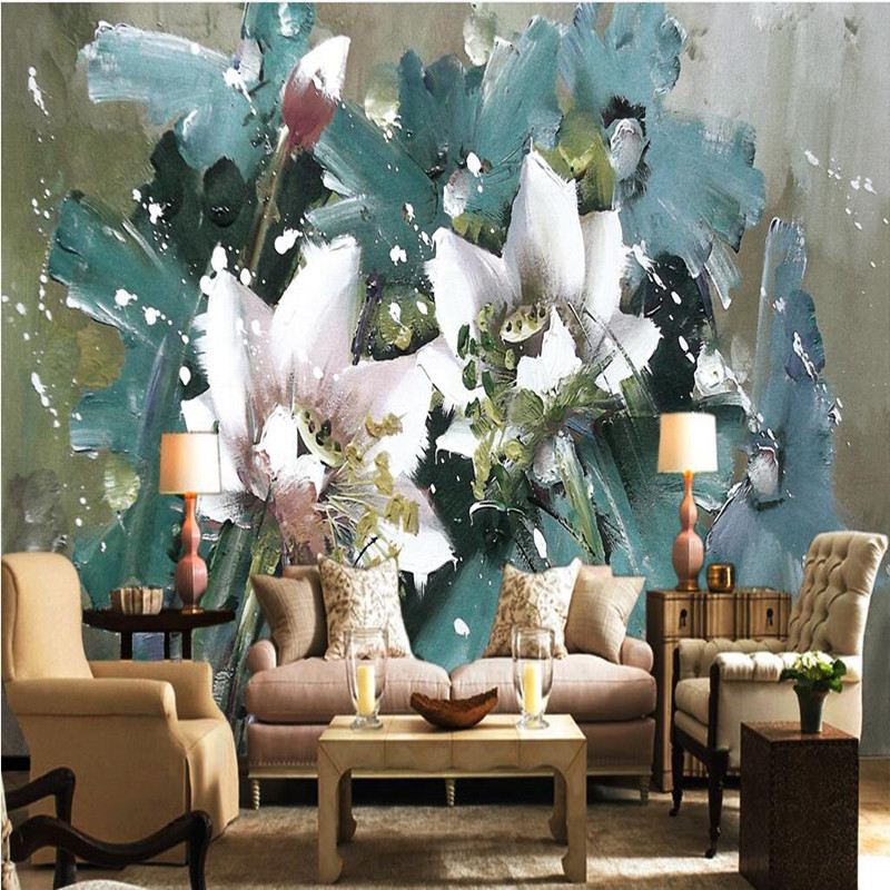 custom 3d wall murals european wallpaper oil painting flowers background wallpaper for walls 3d bedroom home decor 3d wallpapers beibehang custom 3d wallpapers hand painted retro nostalgic abstract oil painting flowers landscape european style wallpaper