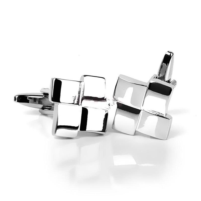 Charm Men's Silver Geometric Dress Shirt Cufflinks Cuff Links Wedding Groom Gift Fashion Cufflink Cool