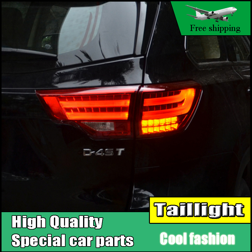 Car Styling Tail Lights For Toyota Highlander 2015 2016 Taillights LED Tail Light Rear Lamp DRL+Brake+Signal Auto Accessories high quality car styling 35w led car tail light for toyota highlander 2015 tail lamp drl signal brake reverse lamp
