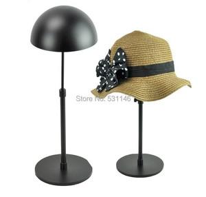 Image 1 - Ayarlanabilir Metal Şapka Ekran Standı/Asma şapka kapağı raf tutucular Siyah 5 ADET