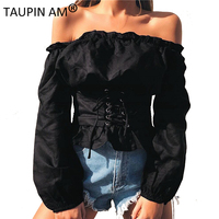 TAUPIN AM Lace Up Waistband Womens Tops And Blouses 2017 Sexy Off Shoulder Long Sleeve Autumn