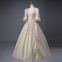 Women's Gothic Victorian Dresses Historical Marie Antoinette Fairy Princess Brocade Ball Gown Period Gothic Dress Clothing