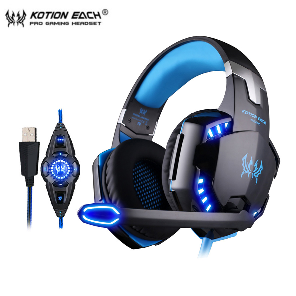 KOTION EACH G2200 USB 7.1 Surround Sound Vibration Game Gaming Headphone Computer Headset Earphone Headband with Microphone LED kotion each g8200 game headphone 7 1 surround usb vibration gaming headset headband casque earphone microphone led light for pc