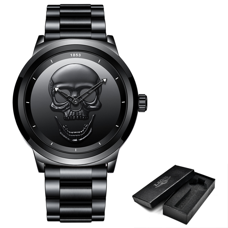 2018 Cool Punk 3D Skull Men Watch Brand LIGE Luxury Steel Quartz Male Watches Waterproof Retro Fashion Gold Black Clock Relogio