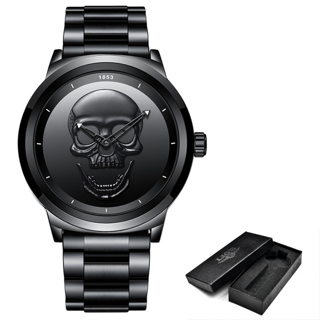 4860fce376c 2018 Crânio Do Punk Legal 3D LIGE Men Watch Marca de Luxo Aço Quartz  Masculino Relógios