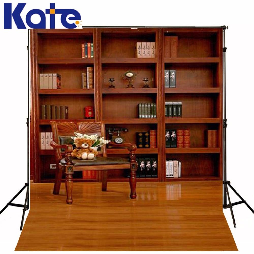 Kate10x10ft arrière-plan étude livres bibliothèque chaise photographie décors lavable tissu épais photographie toile de fond 3209 Lk