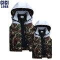 Splicing cotton vest men's han edition of 2016 autumn winters couples Slim camouflage vest fashion men hooded vest 58