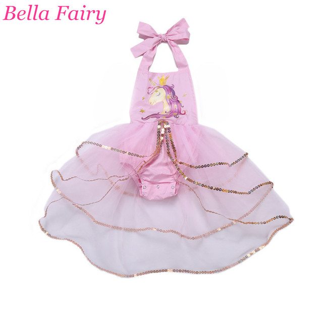 779d3e5dd4df 2018 Baby Girl Unicorn Dress New Fashion Cartoon Print Cute Sequin ...
