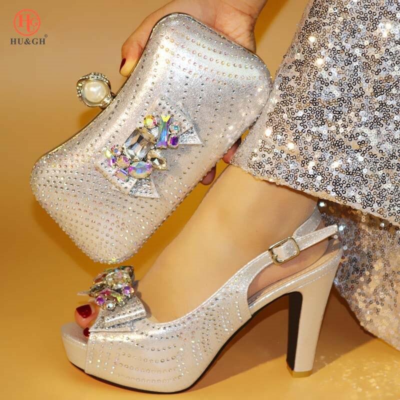 Mariage Brillant Pour Avec Et or Africaines Sac Assorti Partie Le rouge Chaussures Bleu Nouveau Italiennes Bleu Strass argent 2018 Pompes Femmes Ensemble q6atwp