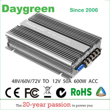 2019 Newest 40-90V TO 12V 50A (48V to 12V, 60V to 12V, 72V to 12V 30A) 600W DC DC Step Down Converter With ACC Reducer CE RoHS