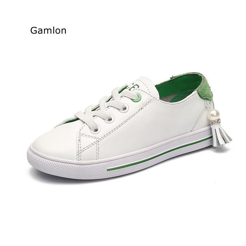 Gamlon Zapatillas de deporte para niños 2017 Nuevo verano Otoño Cuero real para niños Zapatos blancos Transpirable Deportes Casual Board Boys Girls