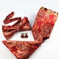 Ties+Bowtie+Handkerchief+Cufflinks Sets Paisley Floral Ties for Men Wedding Neck Tie Gravatas Polyester Bowtie Pocket Square Set