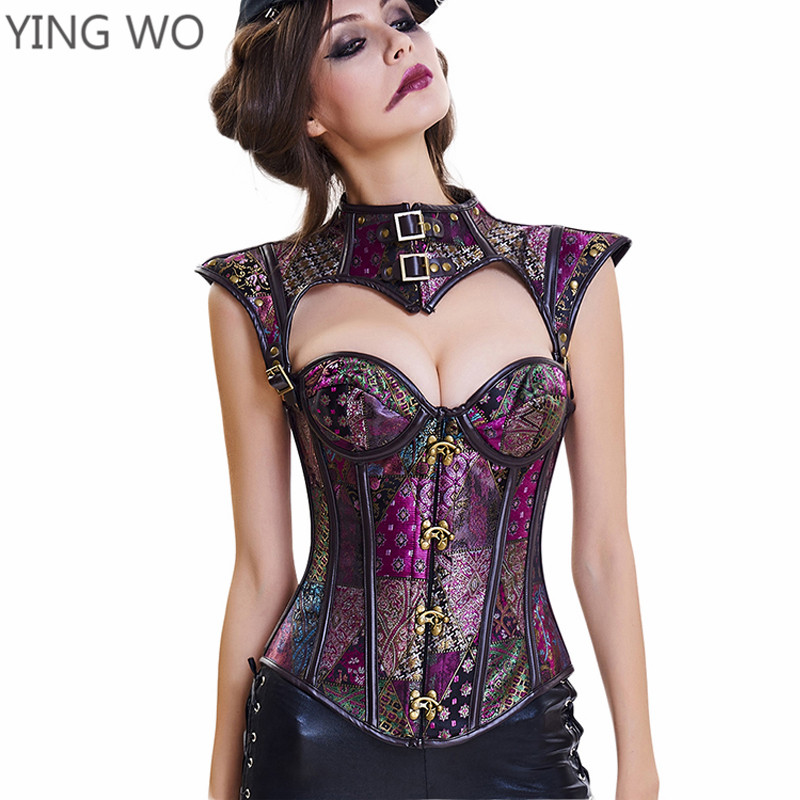 e2b0905485 Black Purple Jacquard 16 Bones Open Bust Gothic Steampunk Corset Tops  Buckles Neck Plus Size Lace up Back Burlesque Corset 3XL-in Bustiers    Corsets from ...