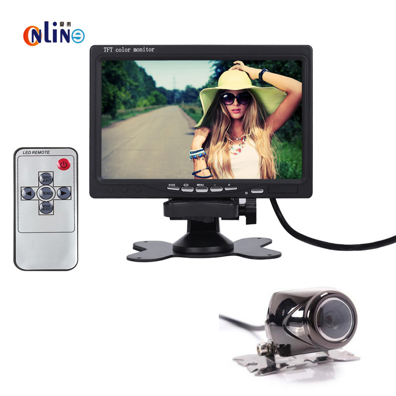 HD 800 x 480 Super Thin 7 Inch Car Color TFT LCD 2 Channels Video Input Car Rear View Monitor + Color CMOS/CCD Rear view camera