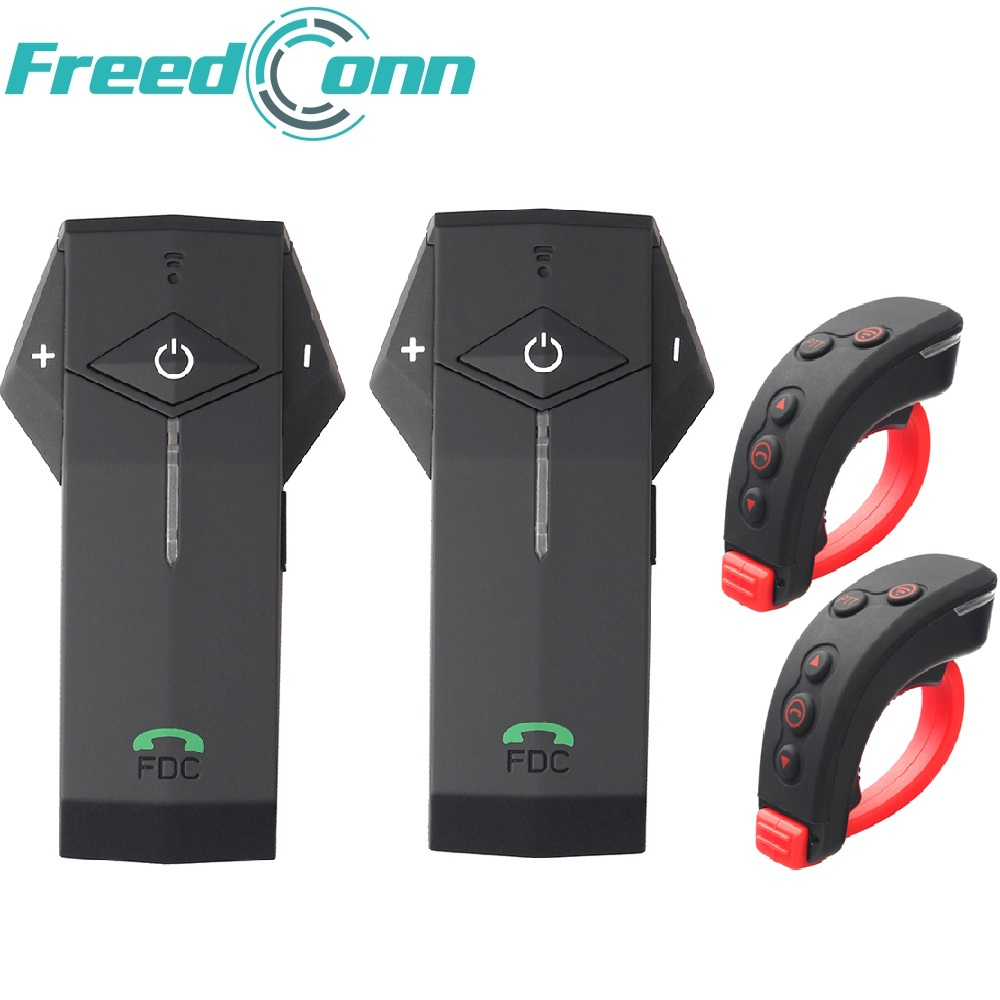 Remote Controller Included 2 pcs FreedConn 1000m Motorcycle Helmet Bluetooth Intercom With FM and Soft Mic