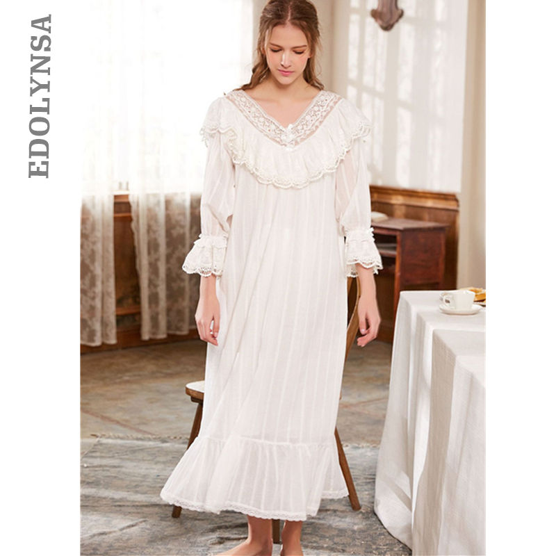 926fede4b0 Victorian Sleep Lounge Vintage Ruffles Slash Home Dress Long Nightgown  Sleepshirts Cotton NightDress Long Negligee Ladies