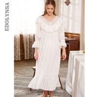 Victorian Sleep Lounge Vintage Ruffles Slash Home Dress Long   Nightgown     Sleepshirts   Cotton NightDress Long Negligee Ladies T148