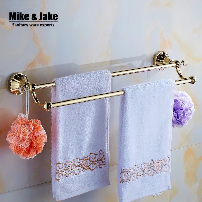 Golden crystal double Towel Bar,Towel Holder,Gold Finished,Bath Products,Bathroom Accessories towel bars 2015 copper golden chrome bathroom accessories suite bathroom double towel bar soap bars brush holder discbathroom accessories