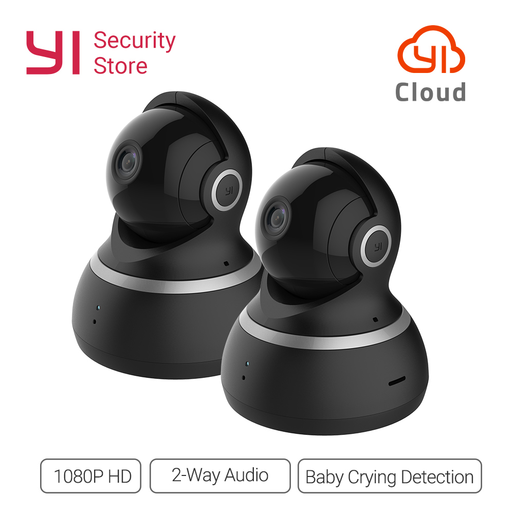yi dome camera ip 1080p wifi wireless alarm callback home security surveillance system 360degree coverage night vision eu cloud YI Dome Camera 1080P Pan/Tilt/Zoom Wireless IP Cam WIFI Security Surveillance System 360 Degree Coverage Night Vision EU/US 2pc