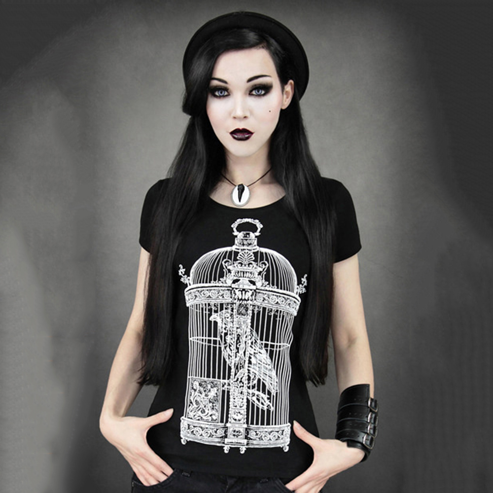 Sishot women Tshirts Gothic Black Tees Funny Short Sleeve Top Halloween Day Party printed T shirt for Special party