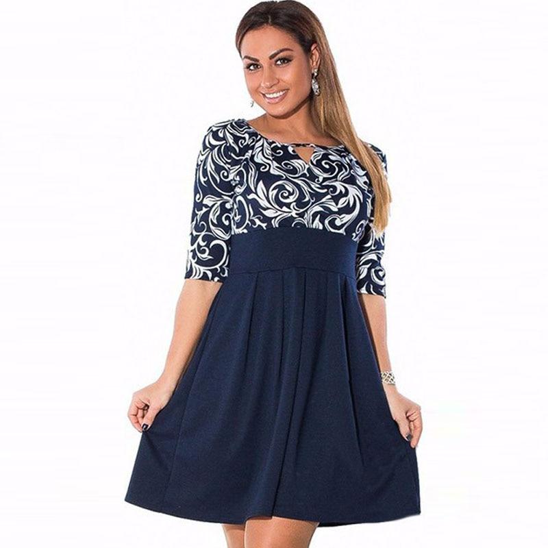 Large Size 6XL Summer Dress 2016 Plus Size Midi Dress Casual Patchwork Loose Dresses Plus Size 5XL Women Clothing Big Sizes 4XL