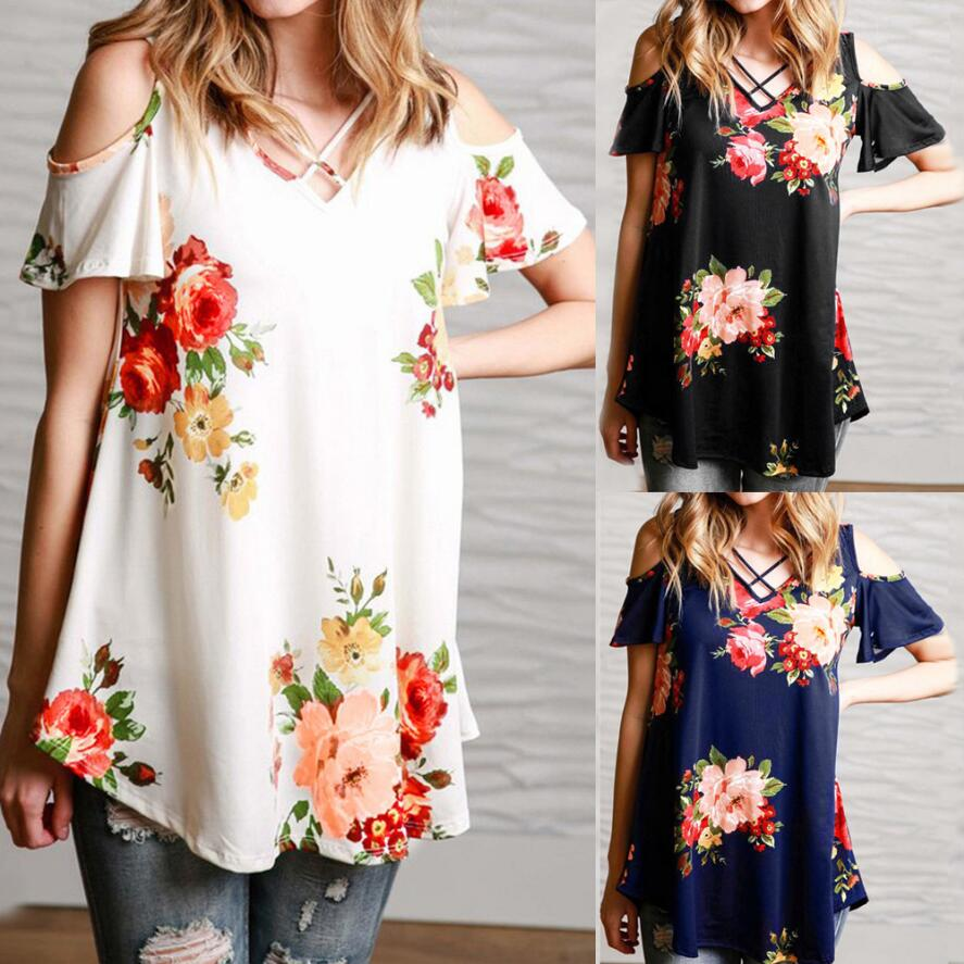 5XL Spring Summer 2019 Casual Women   T  -  shirt   V-neck Short Sleeve Printed Off Shoulder Long   Shirt   Plus Size Women Clothing Tops