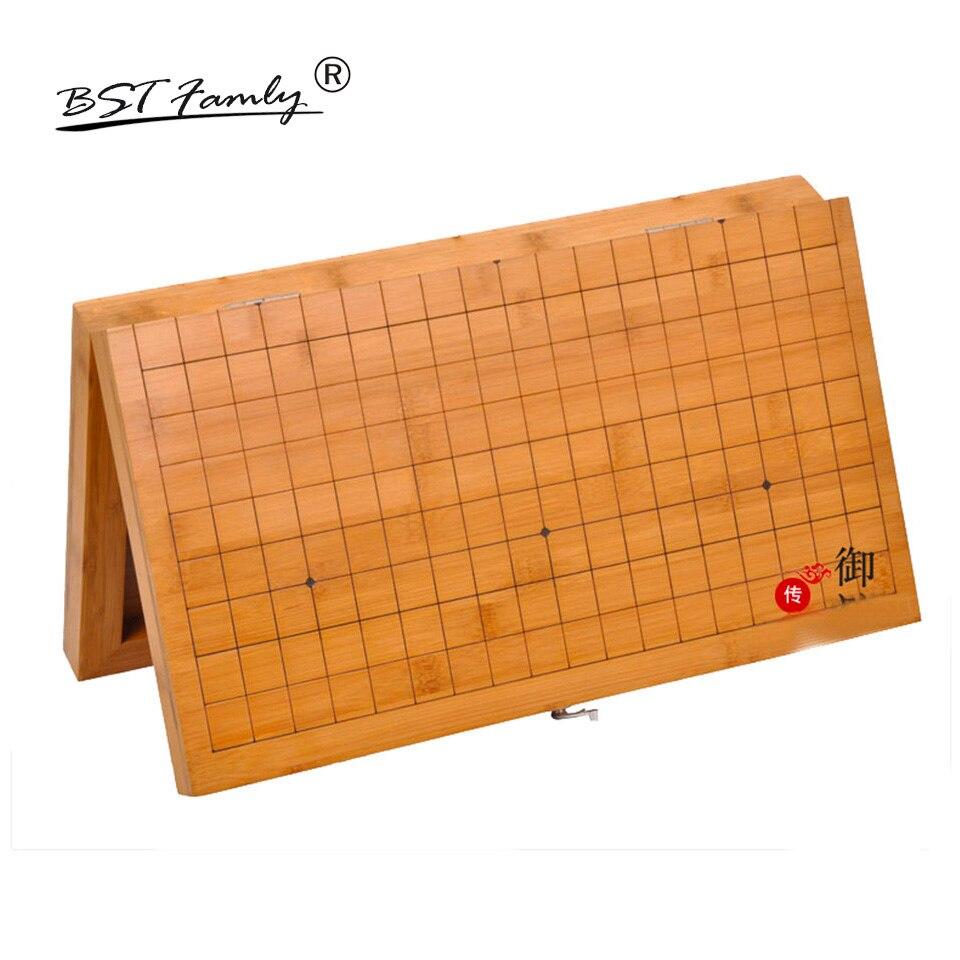 Echiquier en bois pliable Go 19 échiquier de route 52*46.5*3cm bambou vieux jeu de plateau de Go Weiqi pour pièce 22mm BSTFAMLY GB5