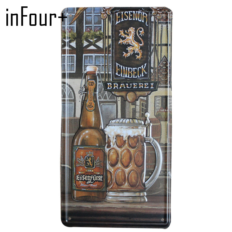 [inFour+] New Drink Beer Plate Metal Plate Car Number Tin Sign Bar Pub Cafe Home Decor Metal Sign Garage Painting Plaques Sign